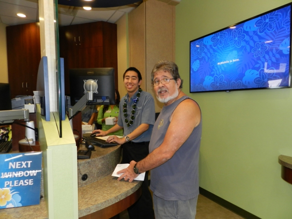 Micah and our first member to visit the Mililani Branch